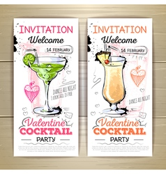 Valentine cocktail party poster Invitation desig vector image