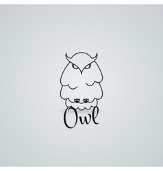 Lined owl logo or emblem in line style vector