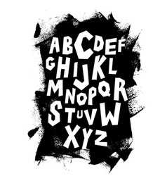 Hand lettering font on grungy background alphabet vector