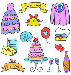 Object wedding party on doodles vector