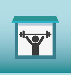 Silhouette human lifting weight vector