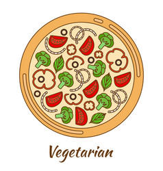Round hot delicious tasty pizza vector