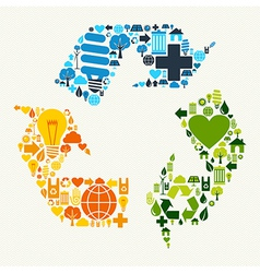Green recycle symbol icons vector