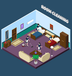 Cleaning hotel room isometric design vector