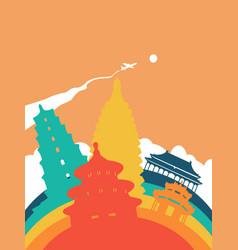 Travel china world landmark landscape vector