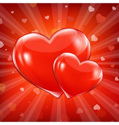 Red sunburst backgrounds with beams and hearts vector