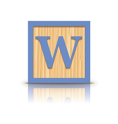 Letter w wooden alphabet block vector