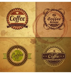 Collection of vintage coffee design labels vector