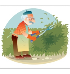 The old gardener working in the garden cutting the vector