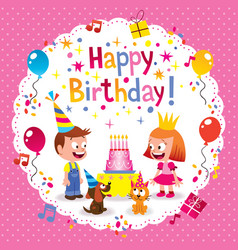 Happy birthday cute kids card vector