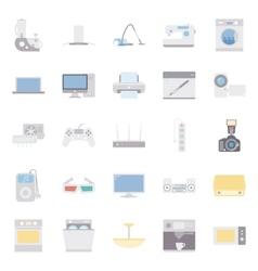 Home electrical appliances color flat icon set vector