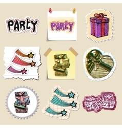 Hand drawn party and celebration emblems set vector