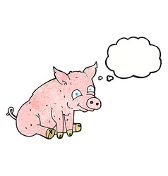 Cartoon happy pig with thought bubble vector