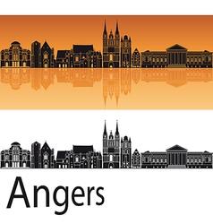 Angers skyline in orange background vector