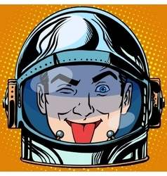 Emoticon tongue emoji face man astronaut retro vector