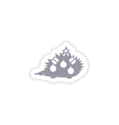 paper sticker on white background hedgehog gifts vector image