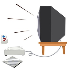 Television and vdo game set vector