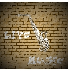 Live music saxophone on a brick background vector