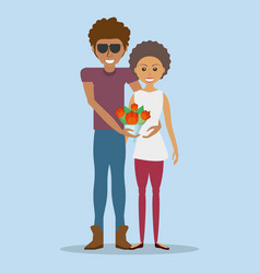 Afroamerican couple lovely with flowers vector