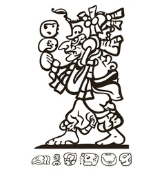 Aztec man with Mayan and Inca icons vector image