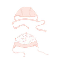 Babys beanie childrens hat cute pink mutch vector