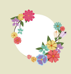 Beautiful round spring flower frame banner with vector