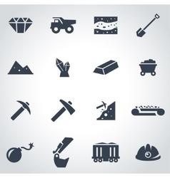 Black mining icon set vector