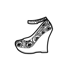black thick contour of high heel platform shoe vector image