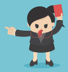 Business woman showing red card concept for bad vector