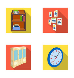 Cabinet shelving with books and documents frames vector
