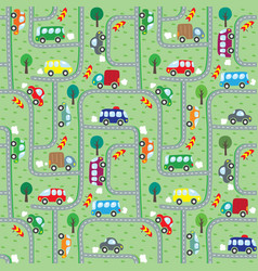 Cars on the road seamless pattern vector