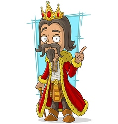 Cartoon bearded king with gold crown vector image