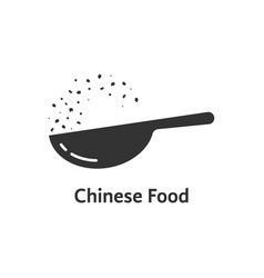 Chinese food logo with black wok vector