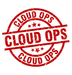 Cloud ops round red grunge stamp vector