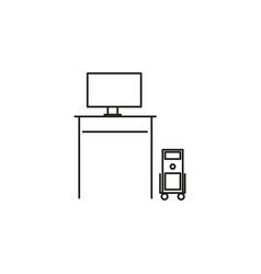 computer desk icon vector image vector image
