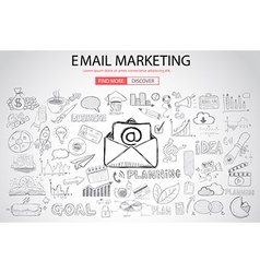 Email marketing with doodle design style vector