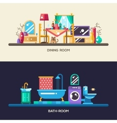 Flat design home interior banners headers set vector