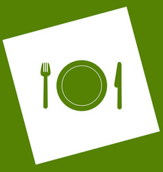 Fork plate and knife white icon obtained vector