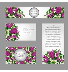 Four business cards with white and pink flowers vector image vector image