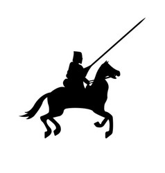 knight warrior silhouette on white background vector image vector image