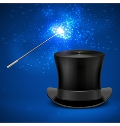 Magic wand and vintage top hat vector
