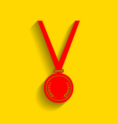 medal simple sign red icon with soft vector image vector image
