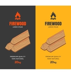 Packaging design for firewood vector