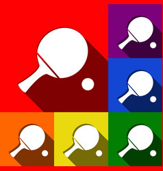 Ping pong paddle with ball set of icons vector