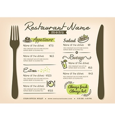 Restaurant Placemat Menu Design Template Layout vector image