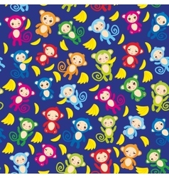 seamless pattern with funny green blue pink orange vector image