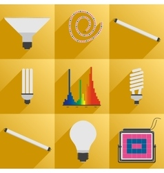 Set icon phyto led equipment light for plants vector image