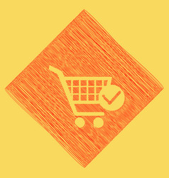 Shopping cart with check mark sign red vector
