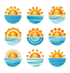 Sunset icons set vector