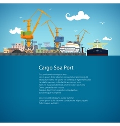 Tanker in a cargo seaport and text vector